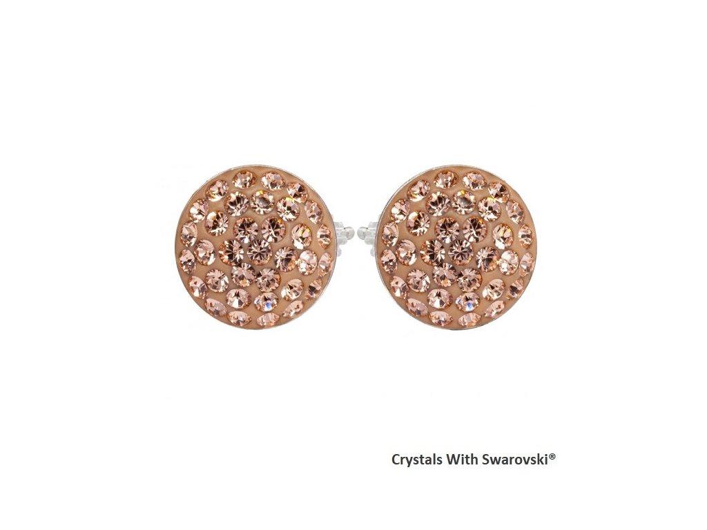 Náušnice s kryštálmi Swarovski® Sparkly Rivoli Light Peach