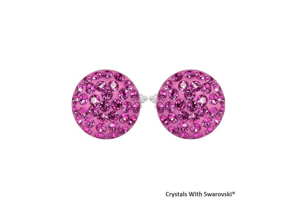 okrúhle ružové náušničky Swarovski sparkly rivoli