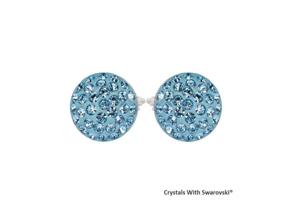 Náušnice s kryštálmi Swarovski® Sparkly Rivoli Aquamarine modré