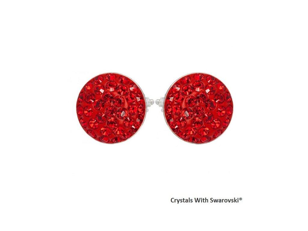 Náušnice s kryštálmi Swarovski® Sparkly Rivoli Light Siam červené