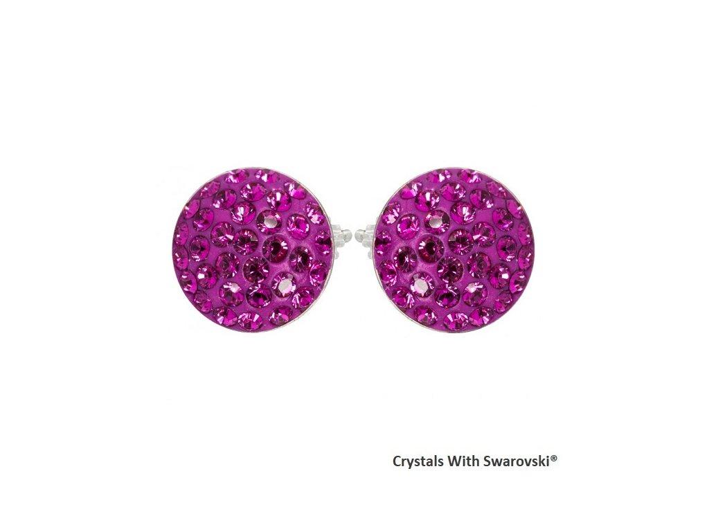 Náušnice s kryštálmi Swarovski® Sparkly Rivoli Fuchsia ružové