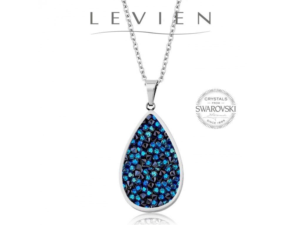 Oceľový náhrdelník s kryštálmi Swarovski Rocks Bermuda Blue