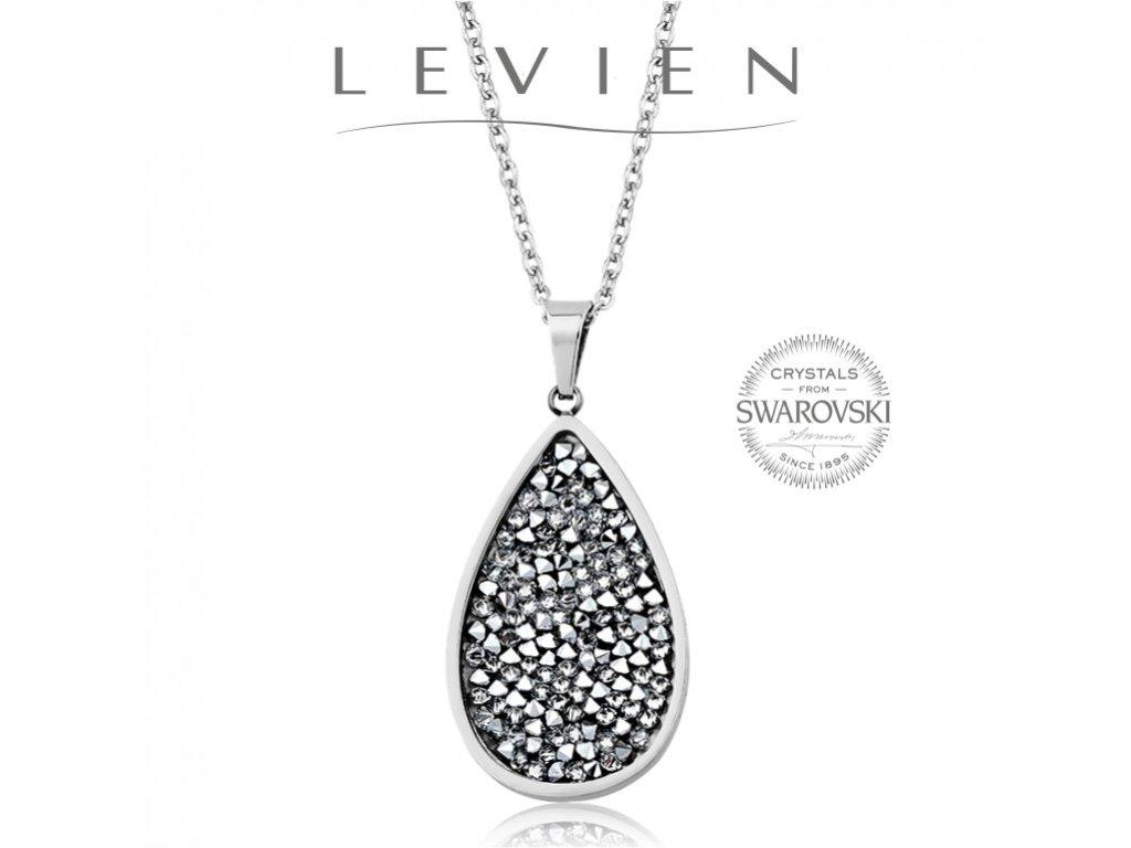 Oceľový náhrdelník s kryštálmi Swarovski Rocks Crystal CAL