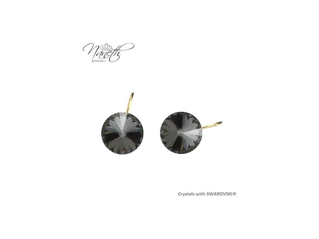 Pozlátené náušnice Rivoli s čiernymi kryštálmi Swarovski Silver Night