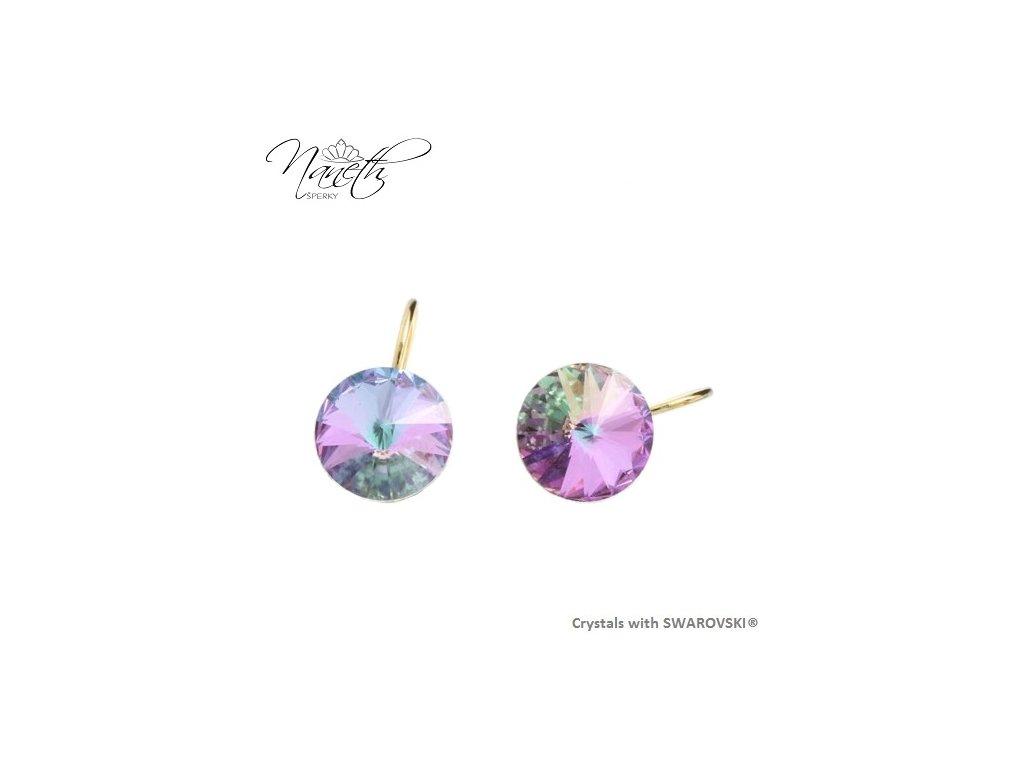 Pozlátené náušnice Rivoli s fialovými kryštálmi Swarovski VL
