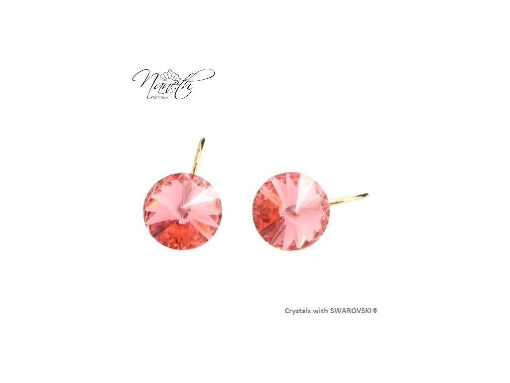 Pozlátené náušnice Rivoli s broskyňovými kryštálmi Swarovski Rose Peach
