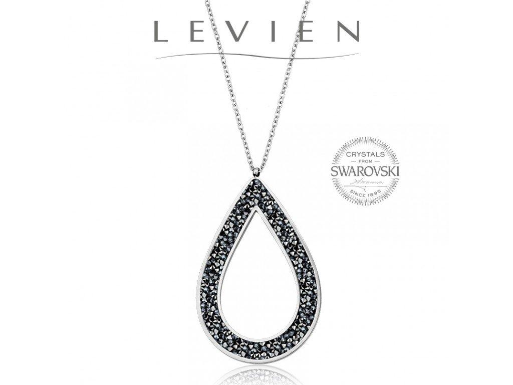 Oceľový náhrdelník Pear Rocks s kryštálmi Swarovski Grey Metalliseé