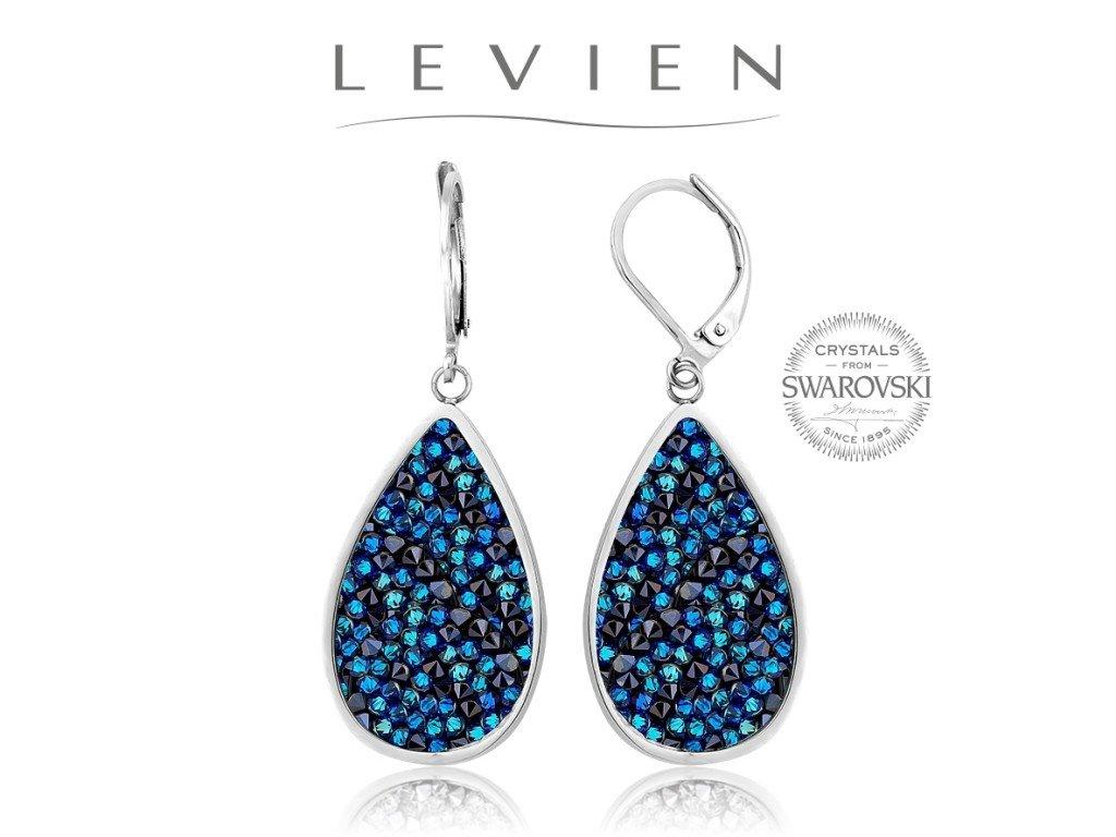 Oceľové náušnice s kryštálmi Swarovski Rocks Bermuda Blue