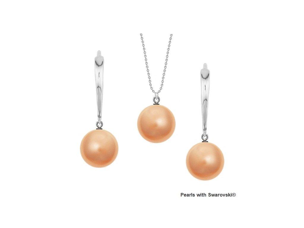 SET5818RP10 perlový set broskyňový Rose Peach Swarovski