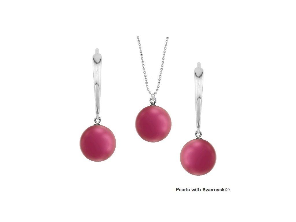 SET5818MP10 perlový set ružový MullBerry Pink Swarovski