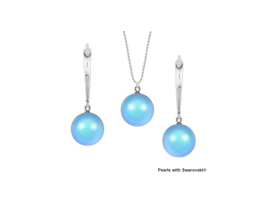 SET5818IRL10 perlový set modrý Iridescent Light Blue Swarovski