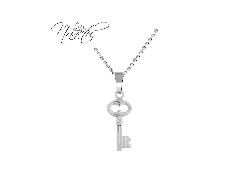 dámsky strieborný náhrdelník klúč