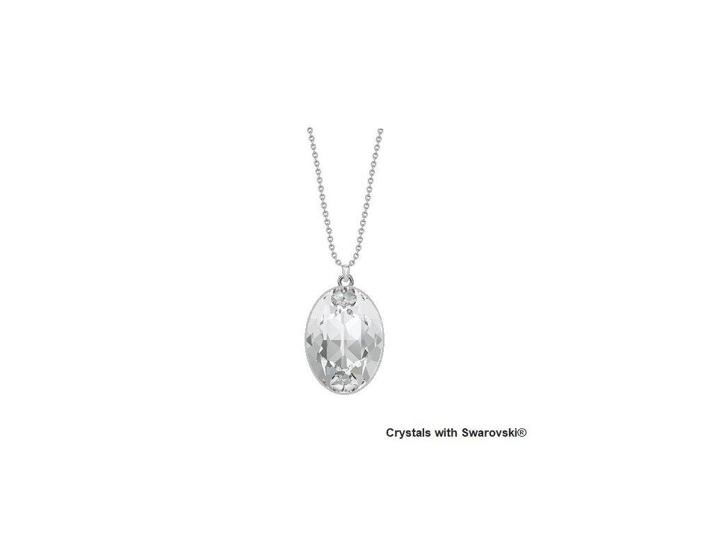 Biely Swarovski náhrdelník zo striebra