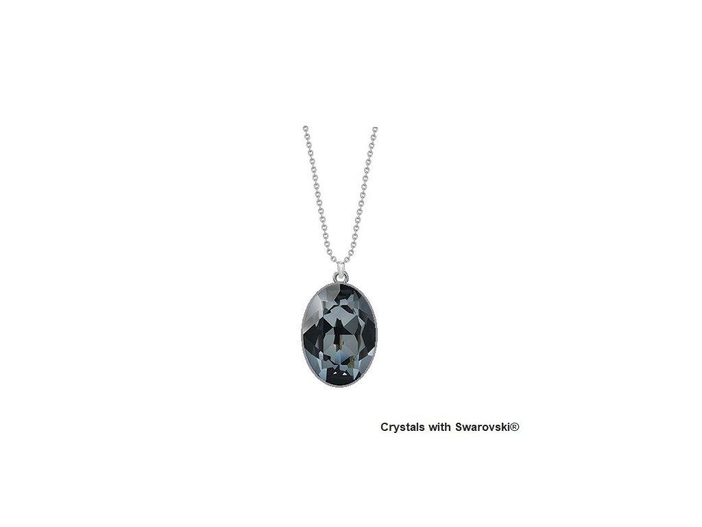 Čierny Swarovski náhrdelník - strieborný, dámsky