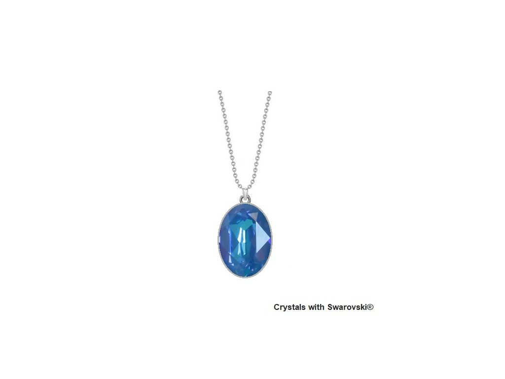 LAcný modrý Swarovski náhrdelník Oval Blue Royal