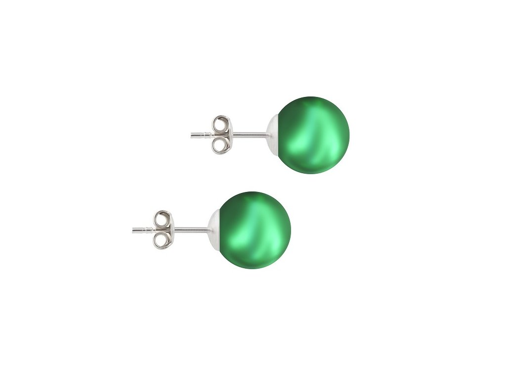 perlové náušnice Swarovski zelené NAP5818EG10