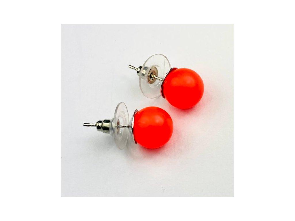 swarovski nausnice oranzove perlove neon