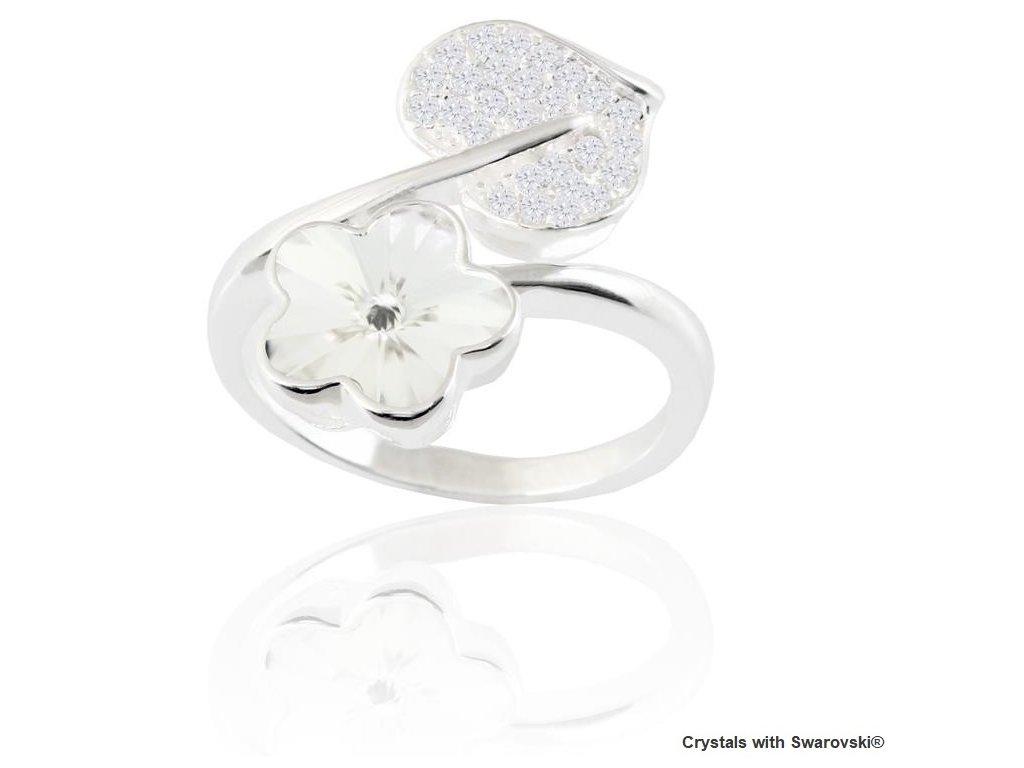 SWAROVSKI prsten kvietok srdce biele