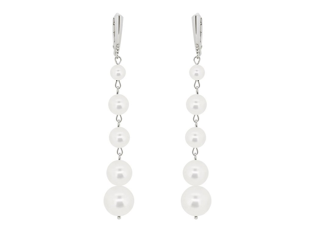 SWAROVSKI nausnice biele perlove visiace NA5818WSD
