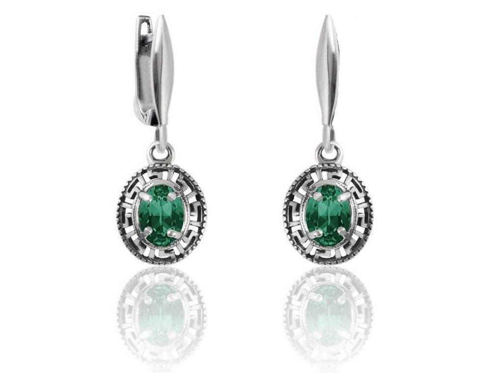 SWAROVSKI strieborne okruhle nausnice emerald NA4120EM8SD