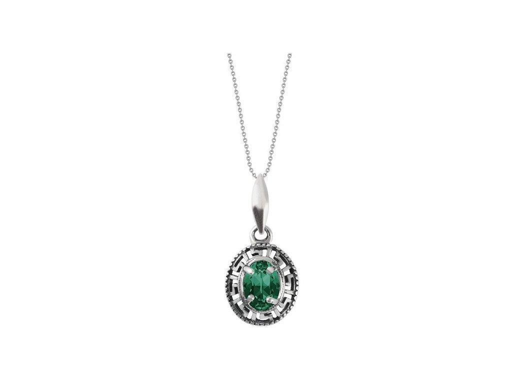 SWAROVSKI nahrdelnik zeleny strieborny oval emerald NH4120EM8SD