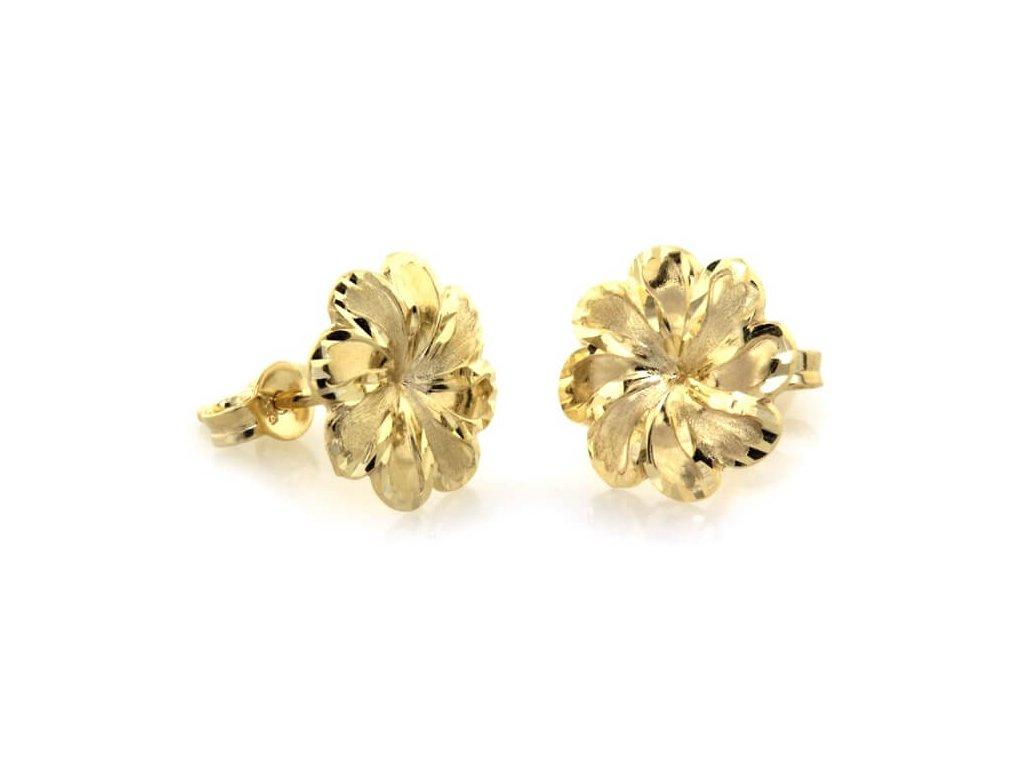 zlate puzetove nausnice kvetiny kl10000 zlte zlato