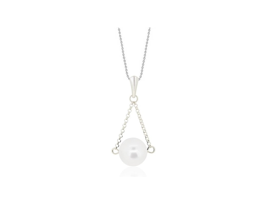 SWAROVSKI nahrdelnik perlovy biely NH5818W12SD strieborny white