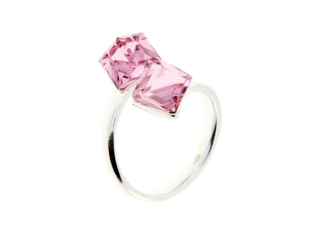 SWAROVSKI prsten strieborny ruzove kocky P4841LR6