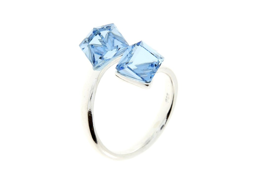 SWAROVSKI prsten strieborny modre kocky P4841AQ6