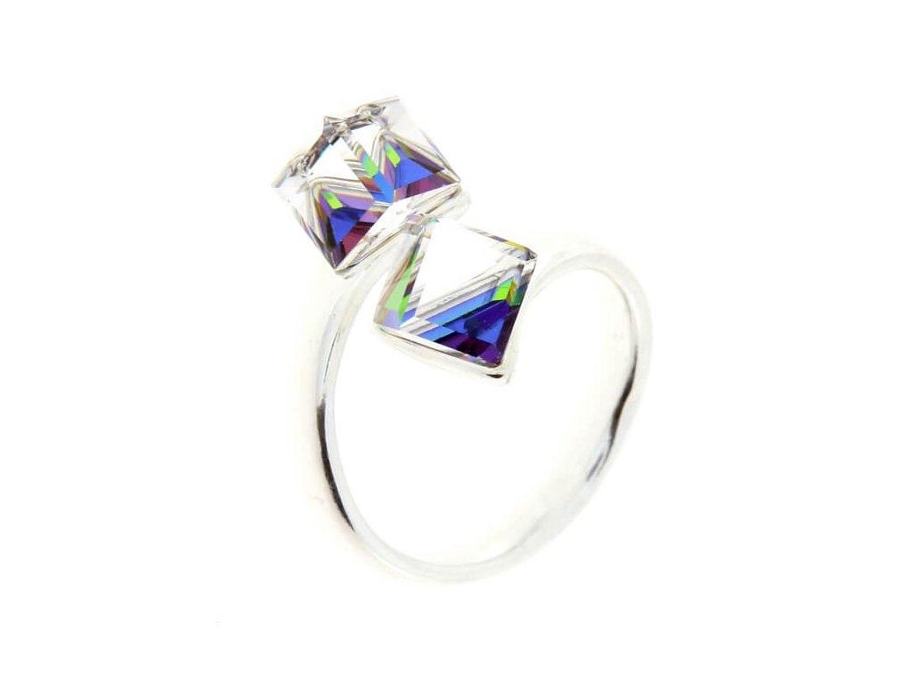 SWAROVSKI prsten strieborny zelene kocky PR4841VM6