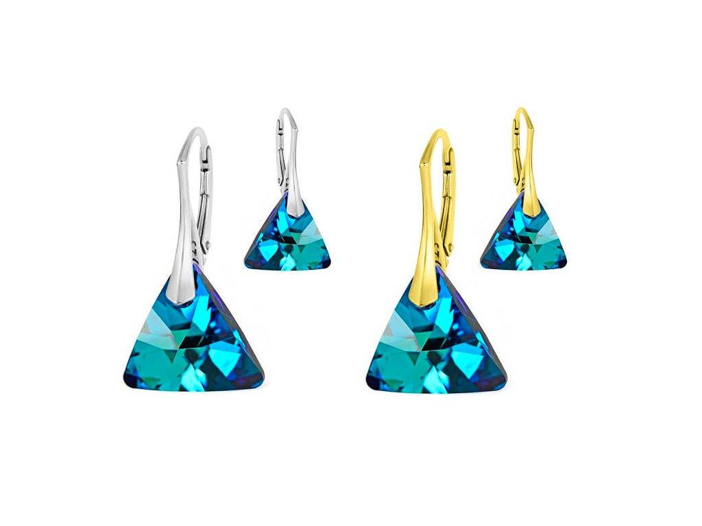 SWAROVSKI nausnice trojuholnik triangle modre NA6628BB16 pozlatene strieborne