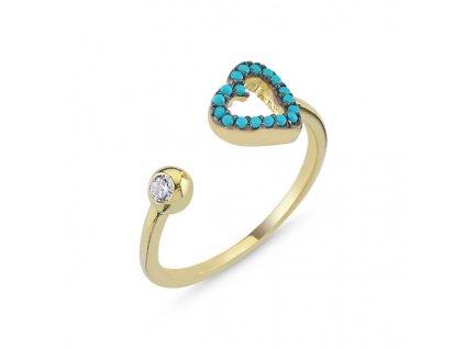 strieborny prstn srdce pozlateny ruzovym zlatom PR55268ZZ