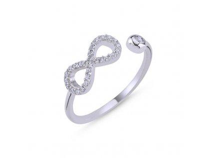 strieborny prsten damsky biely nastavitelny INFINITY PR44268RH