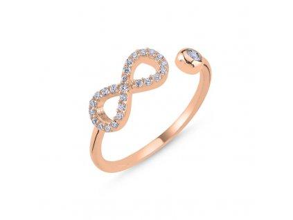 strieborny prsten damsky nastavitelny INFINITY pozlateny ruzovym zlatom PR44268RZ