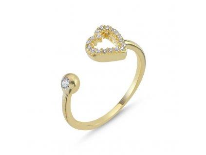 strieborny prsten damsky srdce LOVE nastavitelny pozlateny zltym zlatom PR35268ZZ