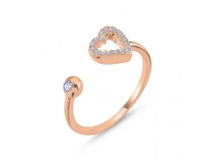 strieborny prsten damsky srdce LOVE nastavitelny pozlateny ruzovym zlatom PR35268RZ