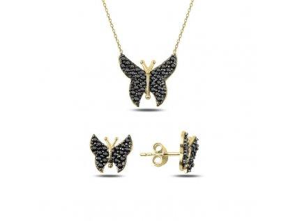 strieborny set motylik JET pozkateny zltym zlatom SET71088ZZ