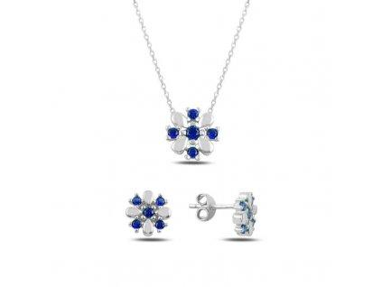 strieborna kvetinova suprava nausnice nahrdelnik modra sapphire SET45629SAP