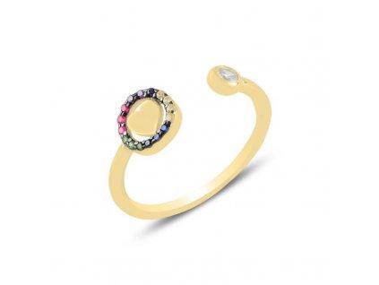 strieborny prsten damsky srdce LOVE COLOR nastavitelny pozlateny zltym zlatom PR55299ZZ