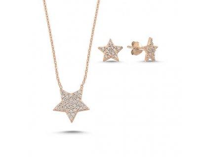 strieborny set hviezdicky star pozlatené ruzovym zlatom SET88148RZ