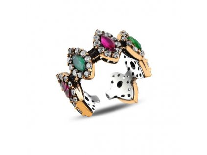 strieborny prsten RUBY GREEN nastavitelny striebro bronz PR16929RHB