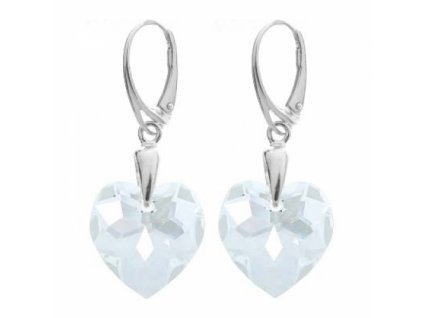 Náušnice s kryštálmi Swarovski Heart Crystal 18 mm