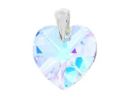Prívesok srdce s dúhovým kryštálom Swarovski Heart AB 18 mm