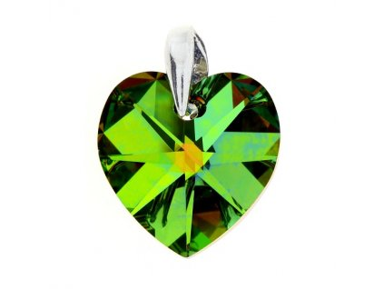 Prívesok srdce so zeleným kryštálom Swarovski Heart VM 18 mm
