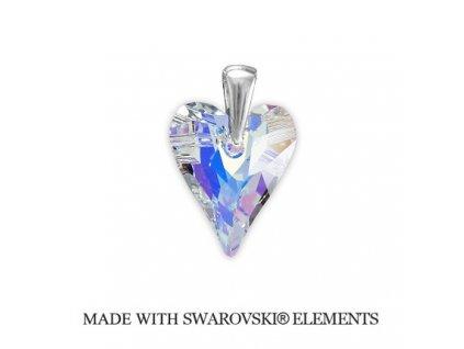 Prívesok Swarovski Elements divoké srdce AB 27 mm