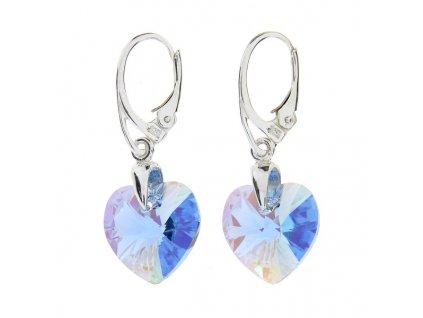 Náušnice srdce Swarovski® Heart modré Aquamarine 14 mm