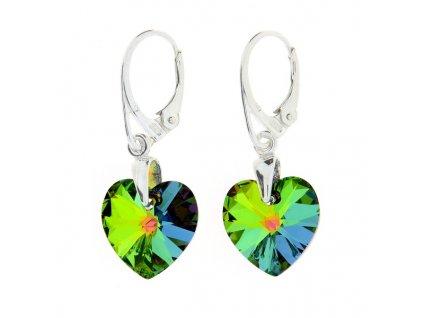 Náušnice srdce Swarovski® Heart zelené VM 14 mm