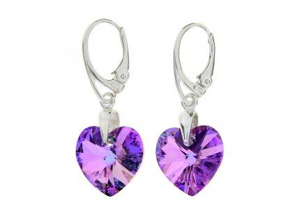 Náušnice srdce Swarovski® Heart fialové VL 14 mm