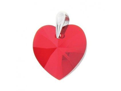 Prívesok srdce s červeným kryštálom Swarovski Heart Light Siam 18 mm