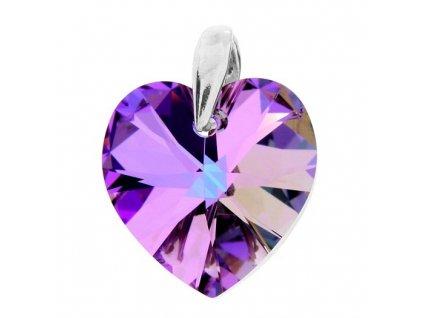 Prívesok fialové srdce s kryštálom Swarovski Heart VL 14 mm